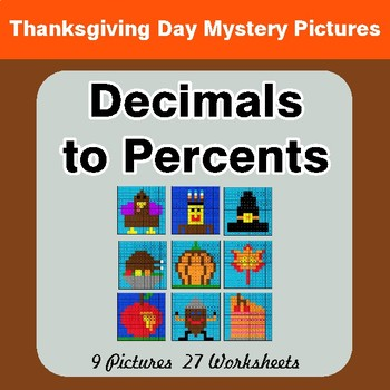 Thanksgiving Math: Decimals to Percents - Color-By-Number Math Mystery Pictures