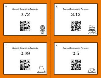 Thanksgiving Math: Decimals to Percents QR Code Task Cards