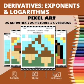 Thanksgiving: Derivatives Exponents and Logs Pixel Art Mystery Pictures