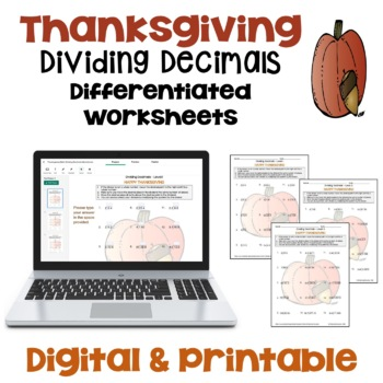 Thanksgiving Dividing Decimals Worksheets (Differentiated with 3 Levels)