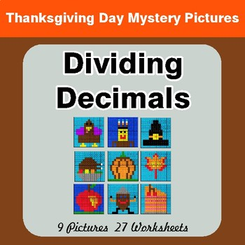 Thanksgiving Math: Dividing Decimals - Color-By-Number Math Mystery Pictures