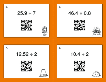 Thanksgiving Math: Dividing Decimals QR Code Task Cards