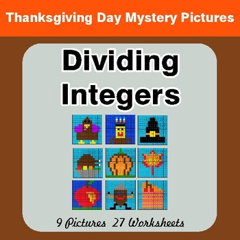 Thanksgiving Math: Dividing Integers - Color-By-Number Math Mystery Pictures