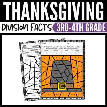 thanksgiving math division color by number worksheets by. Black Bedroom Furniture Sets. Home Design Ideas