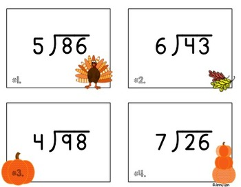 Thanksgiving Math: Division with Remainders Task Cards