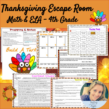 Thanksgiving Math & ELA Escape Room