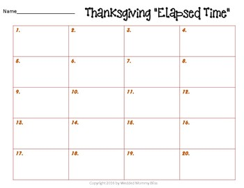 Thanksgiving Math Elapsed Time Task Card for Math Centers