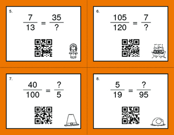 Thanksgiving Math: Equivalent Fractions QR Code Task Cards
