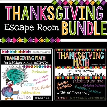 Thanksgiving Math Escape Room Bundle