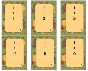 Thanksgiving Math Fact Cards