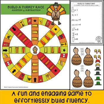 Thanksgiving Math Fact Fluency Games: Addition and Subtraction
