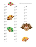Thanksgiving Math Facts Addition Sums 0 to 20