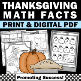 Thanksgiving Math Worksheets, Kindergarten Addition and Subtraction Review