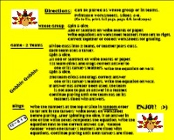 Thanksgiving Gobble Gobble Math Facts -Primary Smartboard 11.4-Windows OS