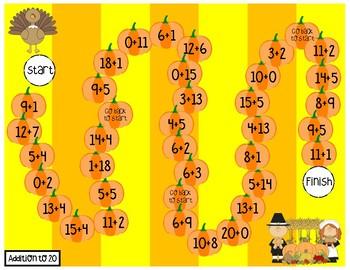 Thanksgiving Math Fluency Game