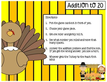Thanksgiving Math Fluency Game