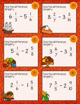 Thanksgiving Math- Subtracting Fractions Task Cards