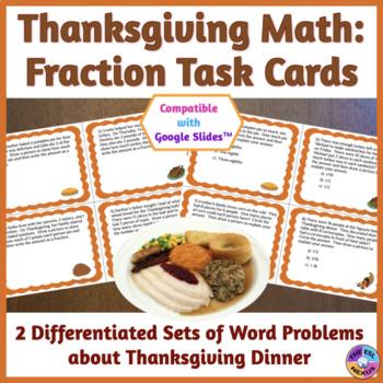 Thanksgiving Math: Fraction Task Cards for ELLs & Mainstre