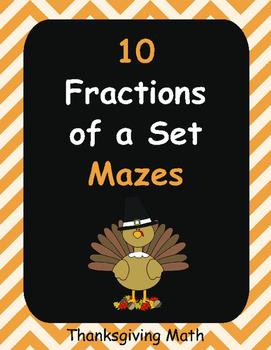 Thanksgiving Math: Fractions of a Set Maze