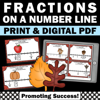 Thanksgiving Fractions on a Number Line Math Centers Task Cards Activities Games