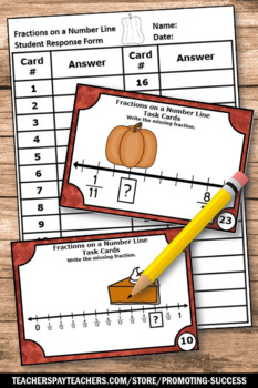 Thanksgiving Fractions on a Number Line Task Cards Thanksgiving Math Games SCOOT