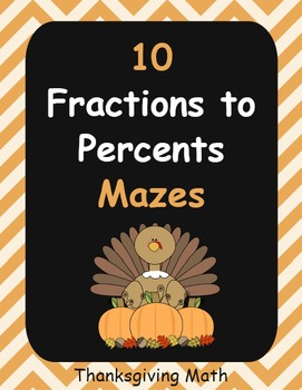 Thanksgiving Math: Fractions to Percents Maze