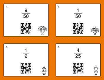 Thanksgiving Math: Fractions to Percents QR Code Task Cards