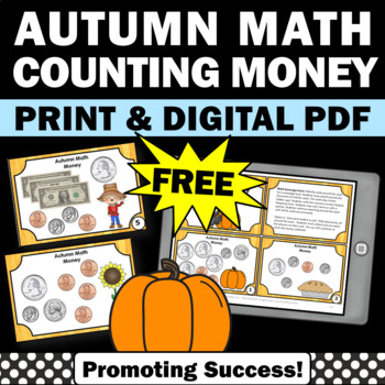 Free Thanksgiving Math Activities Counting Money Task Card 2nd Grade