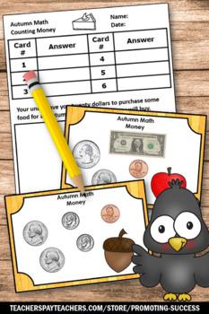 FREE Thanksgiving Math Activities Counting Money Task Card 2nd Grade Math Center
