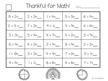Thanksgiving Math Freebie