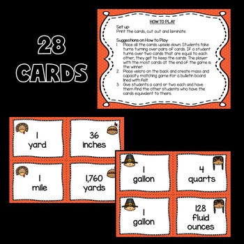 Thanksgiving Math Activities FREE (Length and Capacity Match Cards)