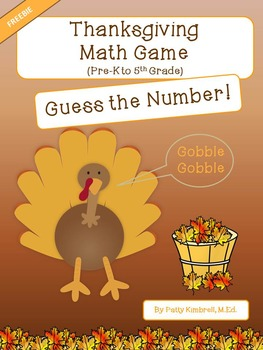 Thanksgiving Math Game Guess the Number FREEBIE