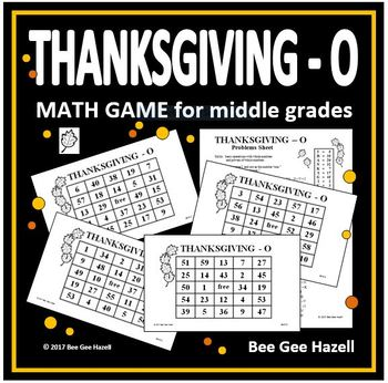 Thanksgiving Math Game for Middle Grades (THANKSGIVING-O)