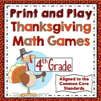 Thanksgiving Math Games: 4th Grade