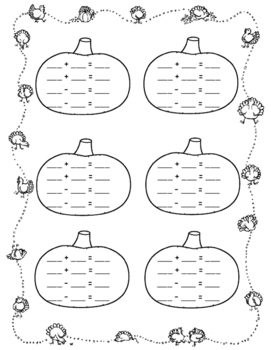 Pumpkin Math Thanksgiving Math Game Fact Family 2nd Thanksgiving Activities 2nd