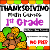 NO PREP Thanksgiving Math Games for First Grade with Turkeys, Pumpkins and More