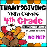 NO PREP Thanksgiving Math Games Fourth Grade with Turkeys, Pumpkins and More