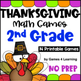 NO PREP Thanksgiving Math Games for Second Grade for November Activities