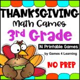 NO PREP Thanksgiving Math Games for Third Grade for November Activities