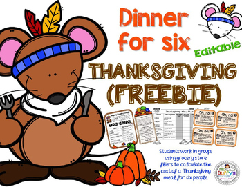 Thanksgiving Math Grades 3-5 Editable {Forever Freebie}