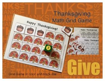 Thanksgiving Math Grid Game