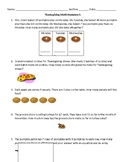 Thanksgiving Math Homework
