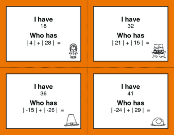 Thanksgiving Math: I Have, Who Has - Absolute Value - Addition & Subtraction