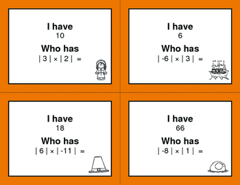 Thanksgiving Math: I Have, Who Has - Absolute Value - Multiplication & Division