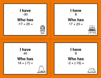 Thanksgiving Math: I Have, Who Has - Adding Integers