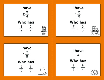 Thanksgiving Math: I Have, Who Has - Adding Like Fractions