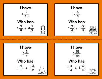 Thanksgiving Math: I Have, Who Has - Adding Mixed Fractions