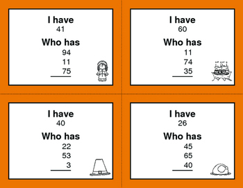 Thanksgiving Math: I Have, Who Has - Average of 3 Numbers