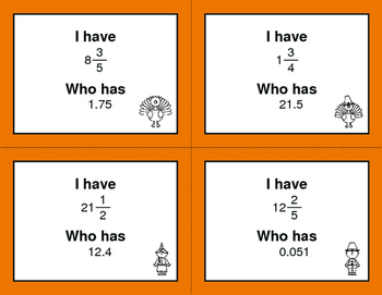 Thanksgiving Math: I Have, Who Has - Decimals to Fractions