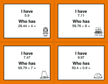 Thanksgiving Math: I Have, Who Has - Dividing Decimals